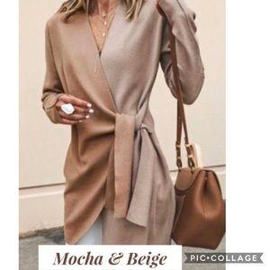 Two Toned Mocha & Beige Sweater